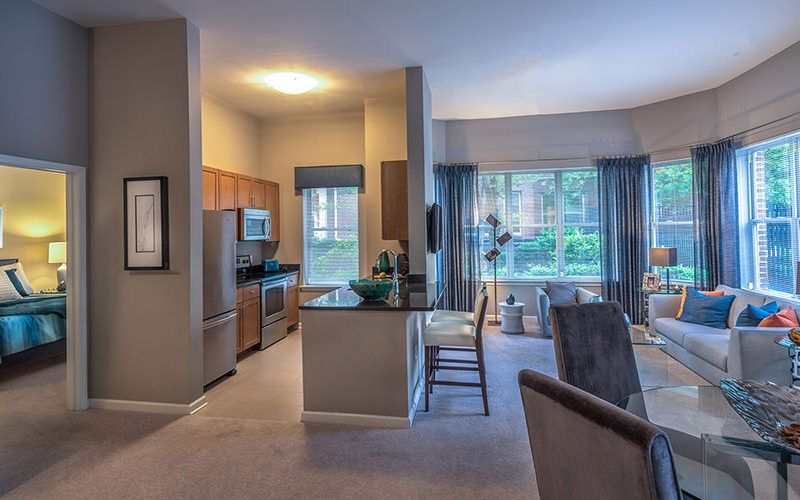 Spacious and well lit living room with plush carpeted floors and an open floor plan with access to the kitchen.